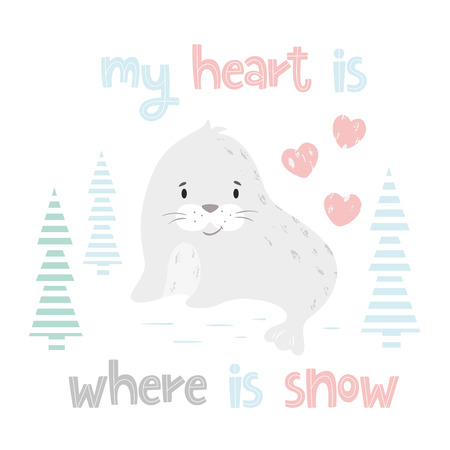 Seal baby winter print. Cute animal in snowy forest christmas card. Cool sea calf illustration for nursery, t-shirt, kids apparel, party and baby shower invitation. Simple scandinavian child design