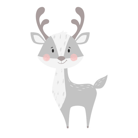 Deer baby print. Cute animal. Cool reindeer illustration for nursery, t-shirt, kids apparel, Christmas and New year party and baby shower invitation. Simple scandinavian child design.