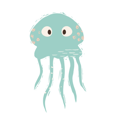 Jellyfish baby cute print. Sweet sea animal. Cool ocean animal illustration for nursery t-shirt, kids apparel, party and baby shower invitation. Simple child design. Summer time 向量圖像