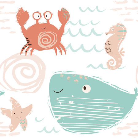 Sea baby cute seamless pattern. Sweet crab, starfish, seahorse, whale print. Cool ocean animal illustration for nursery t-shirt, kids apparel, baby background. Simple child marine design. Summer time 向量圖像
