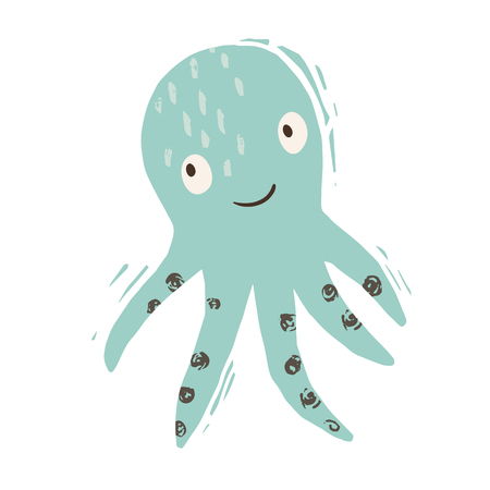 Octopus baby cute print. Sweet sea animal. Cool ocean animal illustration for nursery t-shirt, kids apparel, party and baby shower invitation. Simple summer child design.