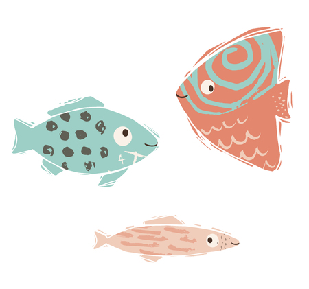 Fish baby cute print. Sweet sea animal. Cool ocean animal illustration for nursery t-shirt, kids apparel, party and baby shower invitation. Simple child design. Summer time