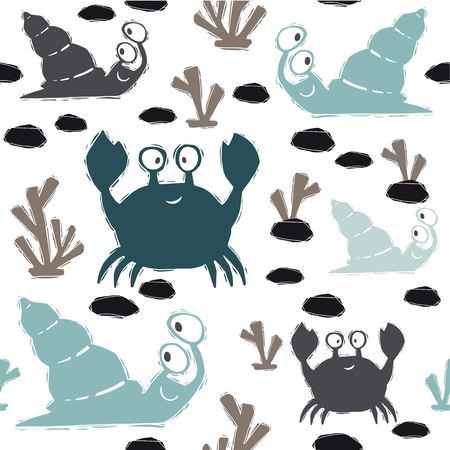 Sea baby cute seamless pattern. Sweet crab, snail and corals print. Cool ocean animal illustration for nursery t-shirt, kids apparel, baby background. Simple child marine design. Summer time