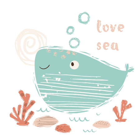 Whale baby cute print. Sweet marine animal. Love sea - text slogan. Banque d'images - 117746530