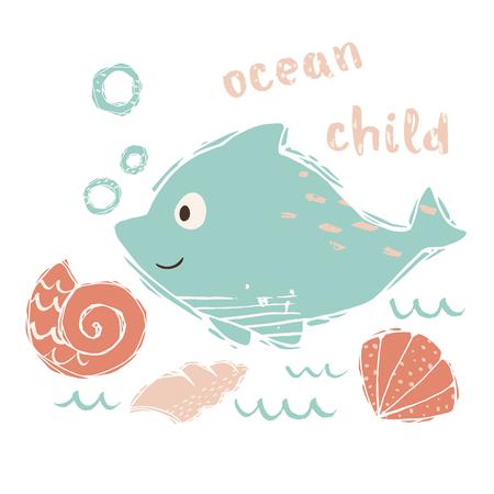 Dolphin baby cute print. Sweet sea animal. Ocean baby - text slogan. Cool ocean animal illustration for nursery t-shirt, kids apparel, party and baby shower invitation. Simple summer child design. 版權商用圖片 - 126245481