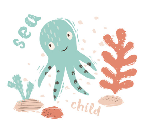 Octopus baby cute print. Sweet marine animal. Sea child - text slogan. Cool ocean animal illustration for nursery t-shirt, kids apparel, party and baby shower invitation. Simple summer child design.