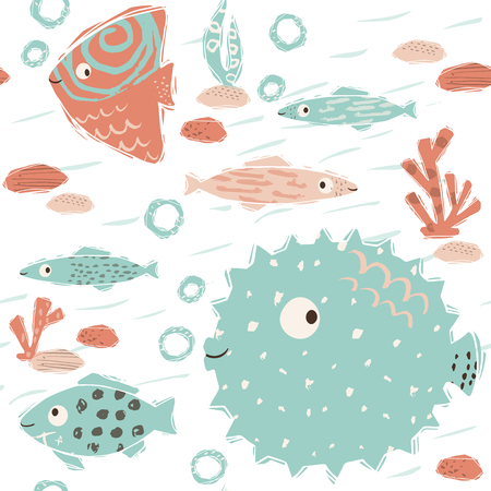 Sea baby cute seamless pattern. Sweet fish and fugue, algae, corals print. Cool ocean animal illustration for nursery t-shirt, kids apparel, baby background. Simple child marine design. Summer time 向量圖像