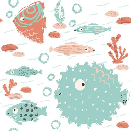 Sea baby cute seamless pattern. Sweet fish and fugue, algae, corals print. Cool ocean animal illustration for nursery t-shirt, kids apparel, baby background. Simple child marine design. Summer time 版權商用圖片 - 126245484