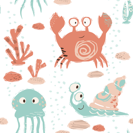 Sea baby cute seamless pattern. Sweet crab, snail, jellyfish, corals print. Cool ocean animal illustration for nursery t-shirt, kids apparel, baby background. Simple child marine design. Summer time