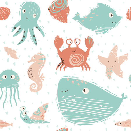 Sea baby cute seamless pattern. Octopus, dolphin, jellyfish, seahorse, starfish, crab, snail, whale print. Ocean animal illustration for nursery t-shirt, kids apparel, baby background. Summer design. 向量圖像