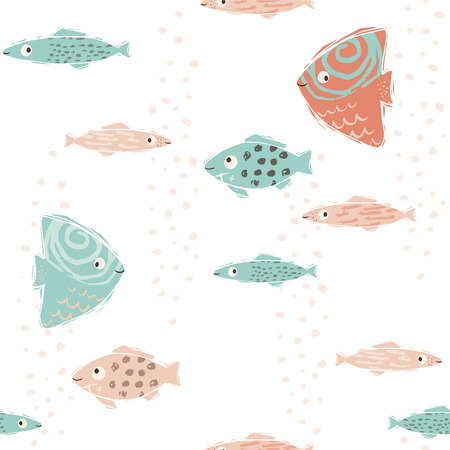 Sea baby cute seamless pattern. Sweet fishes print. Cool ocean animal illustration for nursery t-shirt, kids apparel, baby background. Simple child marine design. Summer time