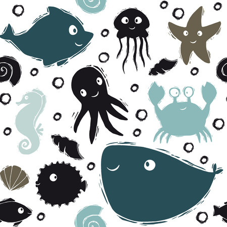Sea baby cute seamless pattern. Sweet dolphin, jellyfish, starfish, seahorse, octopus, crab, fugue fish, whale print. Cool ocean animal for nursery t-shirt, kids apparel, baby background. Summer design