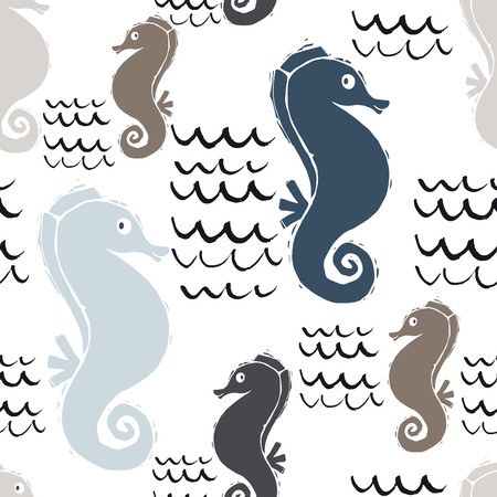 Sea baby cute seamless pattern. Sweet seahorse and wave print. Cool ocean animal illustration for nursery t-shirt, kids apparel, baby background. Simple child marine design. Summer time