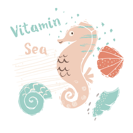 Seahorse baby cute print. Sweet sea animal. Vitamin sea - text slogan. Cool ocean animal illustration for nursery t-shirt, kids apparel, party and baby shower invitation. Simple summer child design. 向量圖像