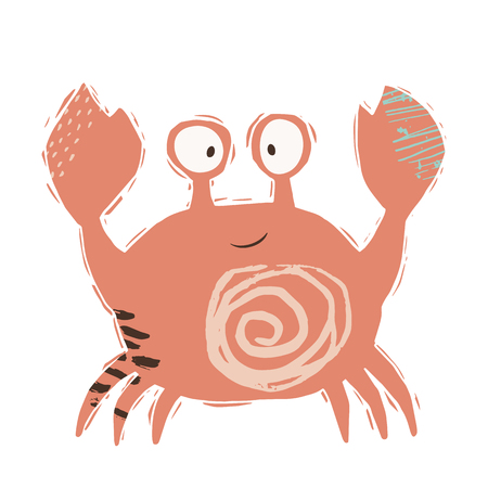 Crab baby cute print. Sweet sea animal. Cool ocean animal illustration for nursery t-shirt, kids apparel, party and baby shower invitation. Simple child design. Summer time