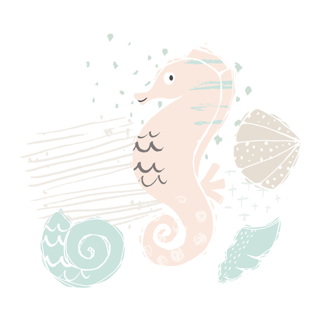 Seahorse baby cute print. Sweet sea animal. Cool ocean animal illustration for nursery t-shirt, kids apparel, party and baby shower invitation. Simple child design. Summer time 向量圖像