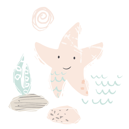 Starfish baby cute print. Sweet sea animal. Cool ocean animal illustration for nursery t-shirt, kids apparel, party and baby shower invitation. Simple child design. Summer time 向量圖像