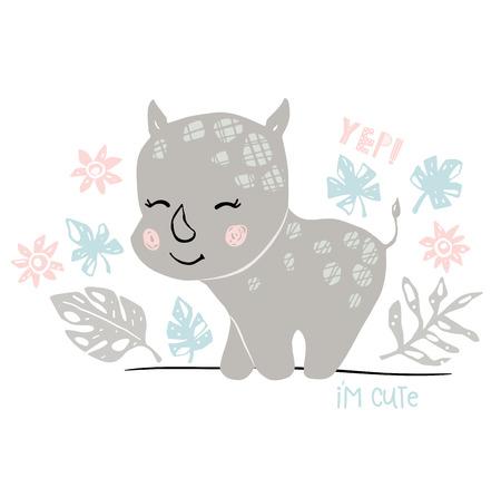 Rhinoceros baby girl cute print. Sweet rhino. Im cute text slogan. Cool african animal illustration for nursery t-shirt, kids apparel, baby shower party invitation. Simple child design. Summer time 向量圖像