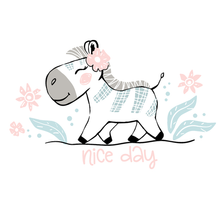 Zebra baby girl cute print. Sweet zoo. Nice day text slogan. Cool african animal illustration for nursery t-shirt, kids apparel, party and baby shower invitation. Simple child design. Summer time 向量圖像