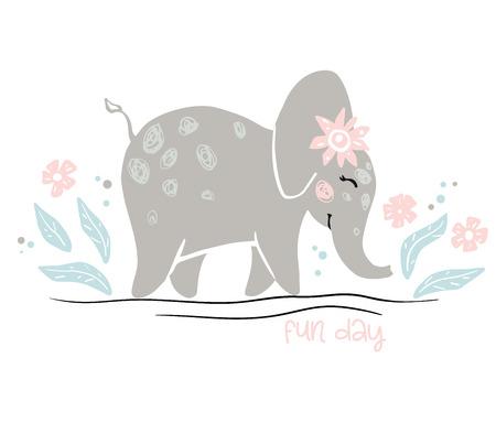 Elephant baby girl cute print. Cool african animal