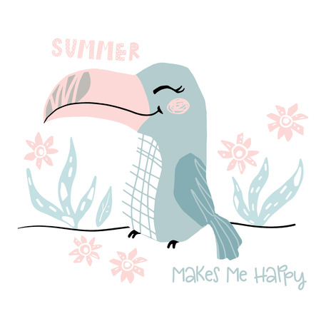 Toucan baby girl cute print. Sweet bird. Summer makes me happy text slogan. Cool african animal illustration for nursery t-shirt, kids apparel, party and baby shower invitation. Simple child design 向量圖像