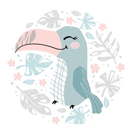 Toucan baby girl cute print. Cool african animal 向量圖像