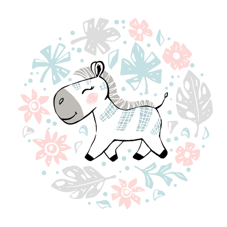 Zebra baby girl cute print. Sweet animal in round floral composition. Cool african illustration for nursery t-shirt, kids apparel, baby shower party invitation. Simple child summer design