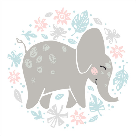 Elephant baby girl cute print. Sweet animal in round floral composition. Cool african illustration for nursery t-shirt, kids apparel, baby shower party invitation. Simple child summer design 向量圖像