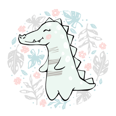 Crocodile baby girl cute print. Sweet dinosaurin round floral composition. Cool african animal illustration for nursery t-shirt, kids apparel, baby shower party invitation. Simple child summer design
