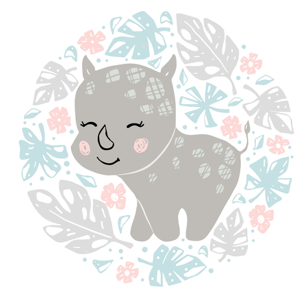 Rhinoceros baby girl cute print. Sweet rhino in round floral composition. Cool african animal illustration for nursery t-shirt, kids apparel, baby shower party invitation. Simple child summer design