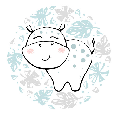Hippopotamus baby girl cute print. Sweet hippo in round floral composition. Cool african animal illustration for nursery t-shirt, kids apparel, baby shower party invitation. Simple child summer design