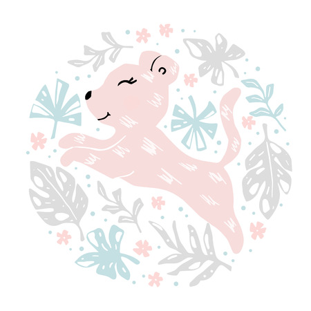 Leopard baby girl cute print. Sweet animal in round floral composition. Cool african illustration for nursery t-shirt, kids apparel, baby shower party invitation. Simple child summer design 向量圖像