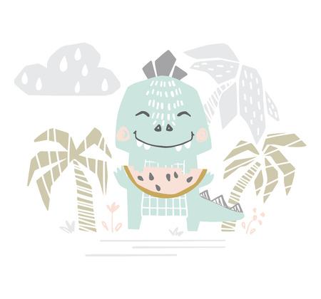 Dinosaur with watermelon baby cute print. Sweet dino eat melon on beach.