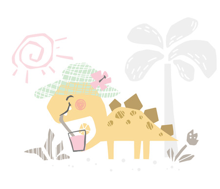 Dinosaur baby with coctail cute print. Sweet dino dreank juice on beach.
