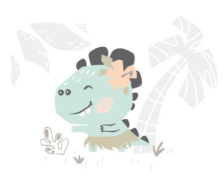 Dinosaur baby cute print. Sweet dino dancing Hawaiian dance on beach