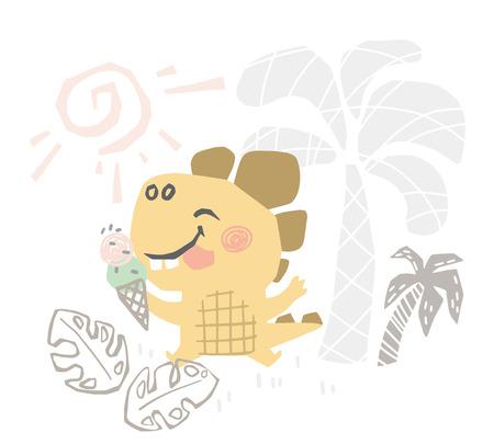 Dinosaur baby cute print. Sweet dino makes eat ice cream on beach.