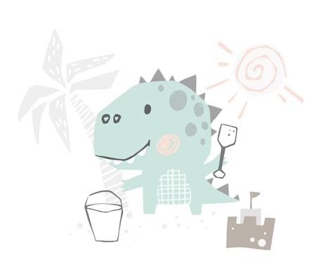 Dinosaur baby cute with spatula print. Sweet dino builds a sand castle on beach. Summer 向量圖像
