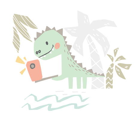 Dinosaur baby with phone cute print. Sweet dino makes a selfie on beach. Summer holiday. Cool illustration for nursery t-shirt, kids apparel, party and baby shower invitation. Simple child design 向量圖像