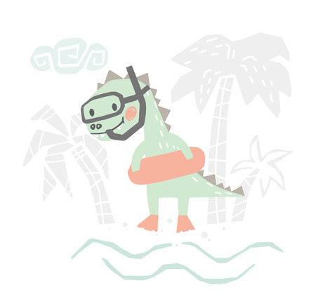 Dinosaur baby with rubber ring cute print. Sweet dino going snorkeling on beach.