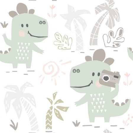 Dinosaur baby with camera cute seamless pattern. Sweet dino makes a photo shoot on beach print. 向量圖像