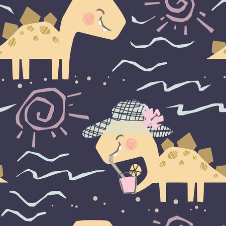 Dinosaur baby with coctail cute seamless pattern. Sweet dino dreank juice on beach print.