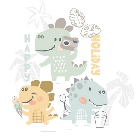 Dinosaurier auf niedlichem Druck des Strandbabys. Süße Dino-Sommerfreizeit. Frohes Festtagsslogan. Coole Illustration für Kinderzimmer-T - Shirt, Kinderbekleidung. Einfaches Kinderdesign. Eis essen, Sandburgen bauen, Foto