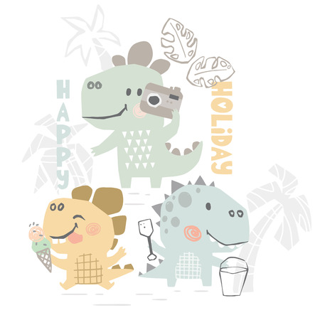 Dinosaurs on beach baby cute print. Sweet dino summer leisure. Happy holiday slogan. Cool illustration for nursery t-shirt, kids apparel. Simple child design. Eat ice cream, build sandcastles, photo Ilustração