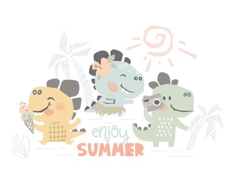 Dinosaurs on beach baby cute print. Sweet dino summer leisure. Enjoy summer slogan. Cool illustration for nursery t-shirt, kids apparel. Simple child design. Eat ice cream, dancing Hawaiian, photo 向量圖像