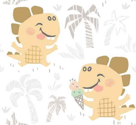 Dinosaur baby cute seamless pattern. Sweet dino makes eat ice cream on beach print. Summer cool illustration for nursery t-shirt, kids apparel, party and baby shower invitation. Simple child design