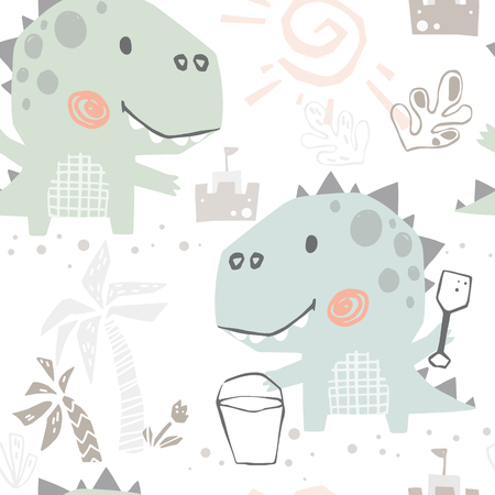 Dinosaur baby cute with spatula seamless pattern. Sweet dino builds a sand castle on beach print. Summer