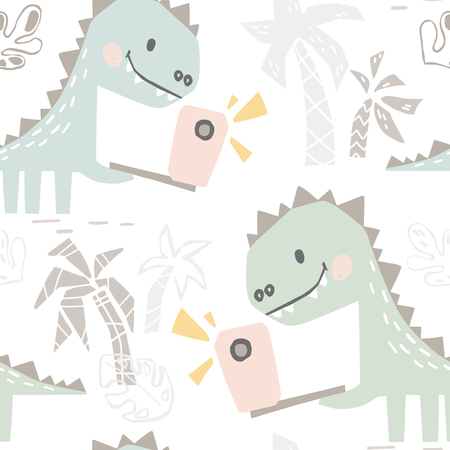 Dinosaur baby with phone cute seamless pattern. Sweet dino makes a selfie on beach print. Summer cool illustration for nursery t-shirt, kids apparel, baby shower party invitation. Simple child design
