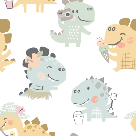 Dinosaurs on beach baby cute seamless pattern. Sweet dino summer leisure print. Cool design illustration for nursery, baby t-shirt, kids apparel. Eat ice cream, drink coctail, make photo, dancing 向量圖像