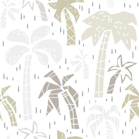 Palm tree baby cute seamless pattern print set. Beach summer cool illustration for nursery t-shirt, kids apparel, baby shower invitation. Tropical simple child design