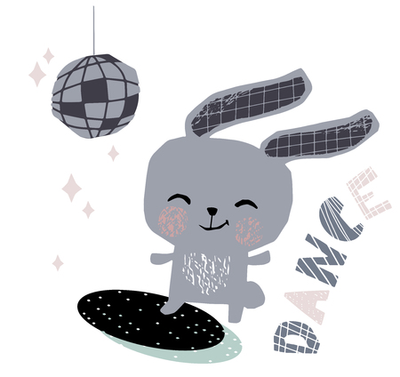 Bunny baby dance cute print. Sweet rabbit listen to music. Disco retro party. Cool illustration for nursery poster, t-shirt, kids apparel, party and baby shower invitation. Simple child design